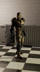 Science fiction illustration of an alien warrior assassin wearing bronze space armour, 3d digitally rendered illustration