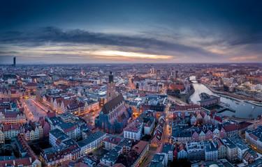 Obraz Nocna panorama Wrocławia - fototapety do salonu