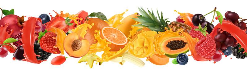 Fruit and berries burst. Splash of juice. Sweet tropical fruits and mixed berries. Orange, mango, banana, pineapple, strawberry, cherry. 3d vector realistic set Wall mural