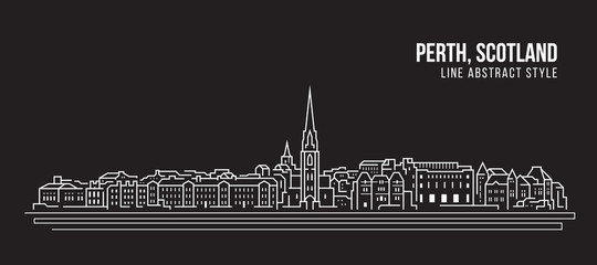 Cityscape Building Line art Vector Illustration design -  Perth city ,Scotland
