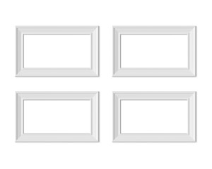 Set 4 1x2 Horizontal Landscape picture frame mockup. Realisitc paper, wooden or plastic white blank for photographs. Isolated poster frame mock up template on white background. 3D render.