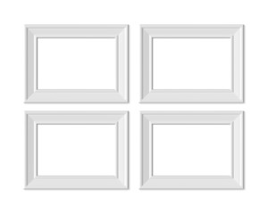 Set 3 2x3 A4 Horizontal Landscape picture frame mockup. Realisitc paper, wooden or plastic white blank. Isolated poster frame mock up template on white background. 3D render.