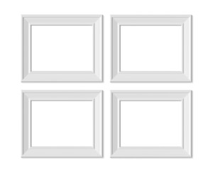 Set 4 3x4 Horizontal Landscape picture frame mockup. Realisitc paper, wooden or plastic white blank. Isolated poster frame mock up template on white background. 3D render.