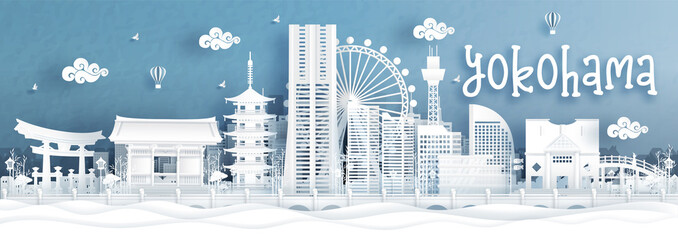 Fototapete - Panorama view of Yokohama city skyline with world famous landmarks of Japan in paper cut style vector illustration.