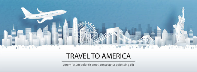 Fototapete - Travel advertising with travel to America concept with panorama view of New York City skyline and world famous landmarks in paper cut style vector illustration.
