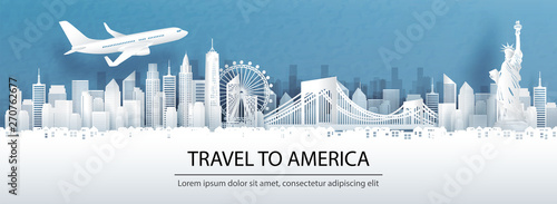 Fototapete Travel advertising with travel to America concept with panorama view of New York City skyline and world famous landmarks in paper cut style vector illustration.