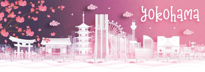 Fototapete - Autumn season with falling Sakura flower and Yokohama, Japan world famous landmarks in paper cut style vector illustration