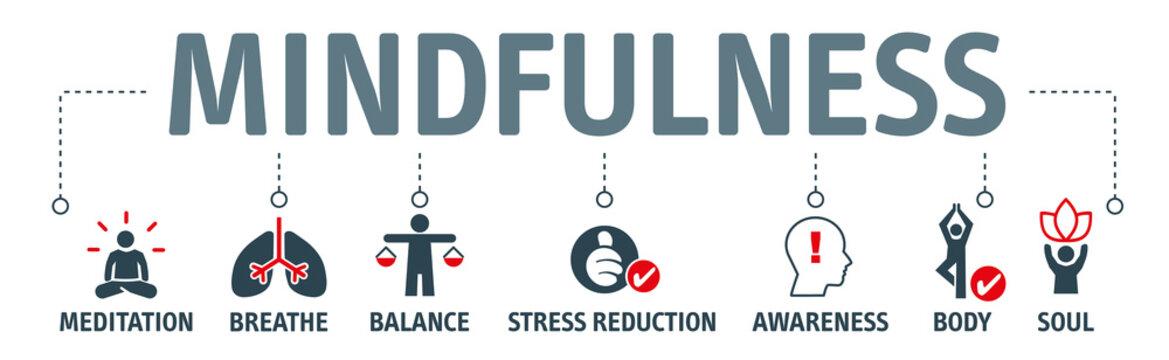 Banner mindfulness vector illustration