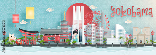 Fototapete Panorama view of Yokohama city skyline with world famous landmarks of Japan in paper cut style vector illustration.