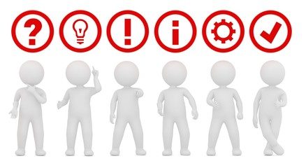 teamwork team work question mark ideas light bulb exclamation mark point instructions information gear sign check mark tick icon red symbols 3d white stick figure standing men person illustration
