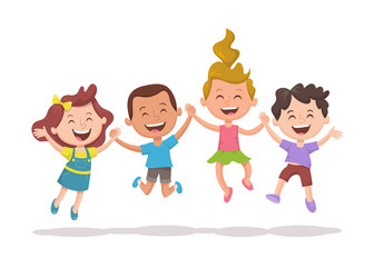 Happy multiracial kids jumping and laughing. Group of kids holding their hands. Happiness, friedship and fun concept.