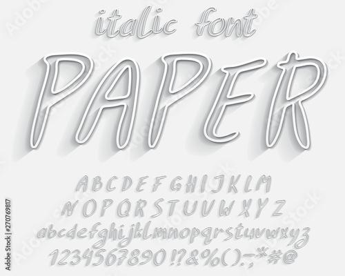 Italic 3D Alphabet  Vector hand drawn with paintbrush font