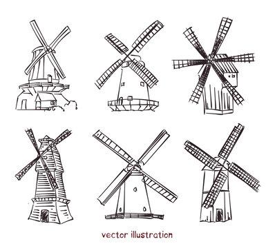 vector sketch of windmills