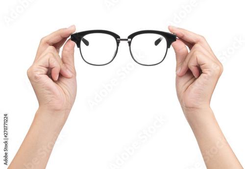 Hand Holding Eye Glasses Isolated On White Background Stock