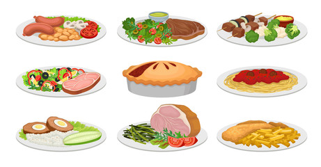 Set of images of ready meals. Vector illustration on white background.