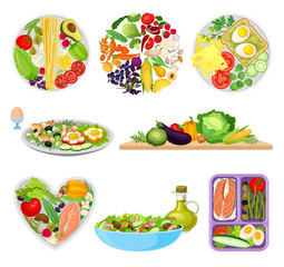Set of images of plates with different foods. Vector illustration on white background.