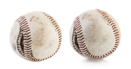 torn baseball ball isolated on white background