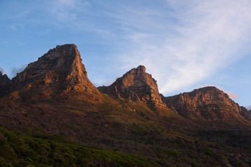 Sunset on a few of the twelve apostles seen from Chapman's Peak Drive near Cape Town, South Africa