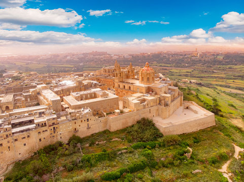 Old castle Mdina cathedral city, Malta. Aerial top view