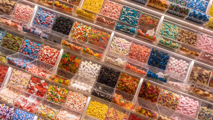 Self service display with many candies