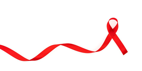 Aids Awareness Red heart Ribbon isolated on white background .