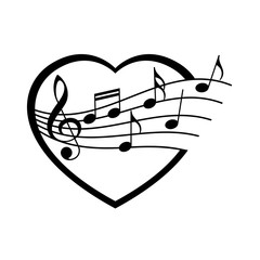 Vector black heart with notes and violin key