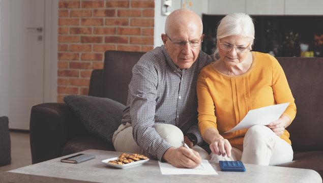 Senior couple paying bills together