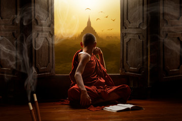 Wall Murals Place of worship Novice buddhist monk inside a temple in the Bagan Valley