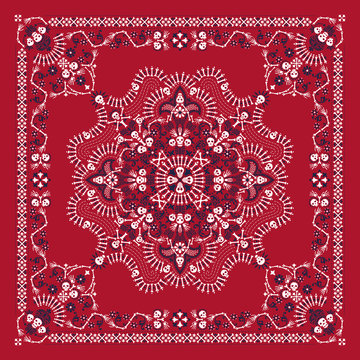 Vector ornament paisley, skulls and bones Bandana Print, fabric neck scarf or kerchief square pattern Pirate design style for print on textile.