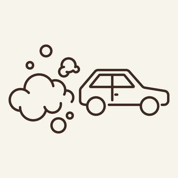 Car exhausting emission line icon. Transport, exhaust, pollution. Environmental pollution concept. Vector illustration can be used for topics like environment, ecology, environmental defect