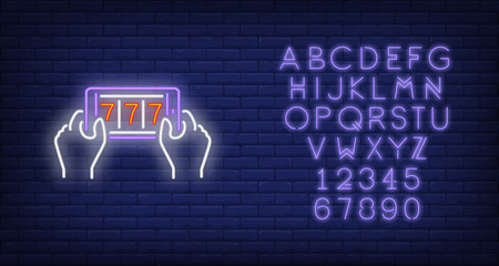 Casino mobile app neon sign. Glowing neon phone with numbers on screen. Entertainment concept. Vector illustration in neon style for playing casino online and mobile app,gambling