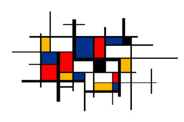 Abstract colorful painting in Piet Mondrian's style, wide artistic background