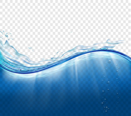 Water surface with waves and splashes.