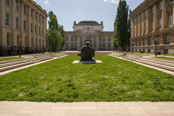 Croatian National Archives and other old Austro-Hungary buildings and statue