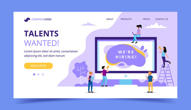 Hiring landing page. Concept illustrations for human resources, hiring process, vacancies, recruitment department.