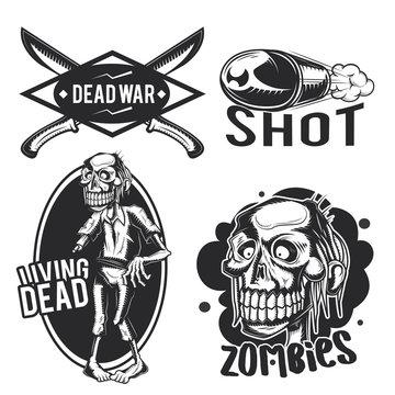 zombie emblems, labels, badges, logos