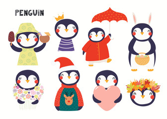 Spoed Fotobehang Illustraties Set of cute penguin illustrations, princess, with flowers, Christmas, autumn, summer. Isolated objects on white background. Hand drawn vector. Scandinavian style flat design. Concept children print.