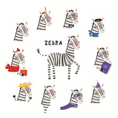 Foto auf Acrylglas Abbildungen Set of cute zebra illustrations, pirate, superhero, unicorn, Christmas, ghost, reading. Isolated objects on white background. Hand drawn vector. Scandinavian style flat design. Concept children print.