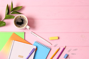 School office on a colored background top view. Office office, student office. Concept back to school. place for text. Flatlay