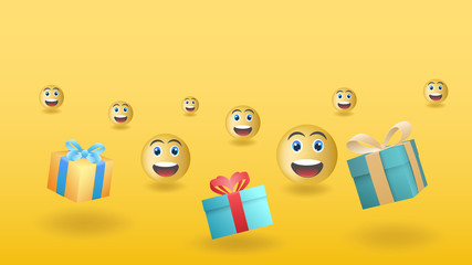 Smiles from gifts. Vector illustration