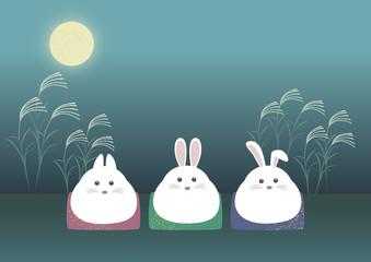 ウサギのお月見 座った姿がぷっくりしたお餅のよう