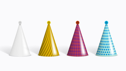 Realistic Funny Colorful Party Hats Set On White