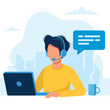 Customer service. Man with headphones and microphone with laptop. Concept illustration for support, call center.