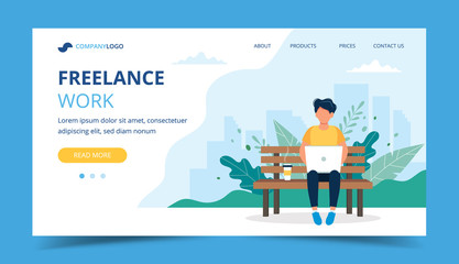 Freelance work page template. Man working with laptop in the park. Illustration for freelancing, remote work, business. Wall mural
