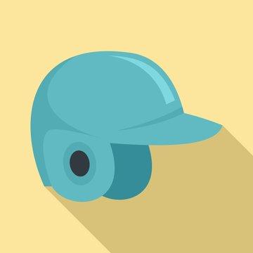 Baseball helmet icon. Flat illustration of baseball helmet vector icon for web design