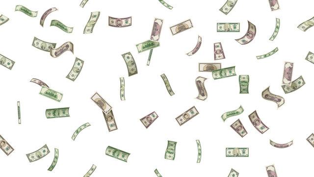 Flying money. Falling dollars. Vector illustration