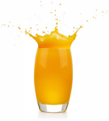 Wall Mural - glass full of orange juice splashing on white background