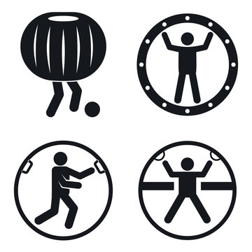 Zorb ball icons set. Simple set of zorb ball vector icons for web design on white background