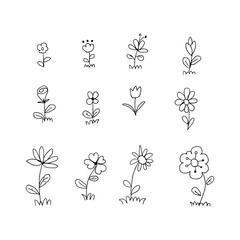 set of flowers on the white background. flowers doodle . Hand dawn. Vector EPS 10.