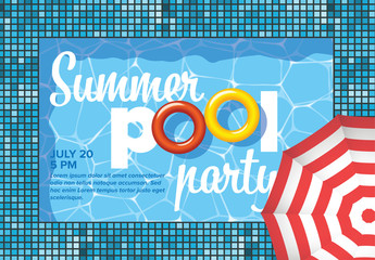 Graphic Summer Pool Party Invitation Flyer Layout